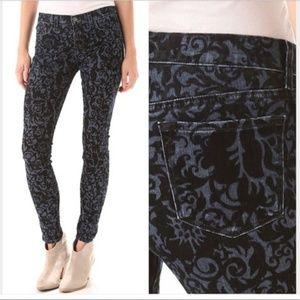 J Brand Blue Black Brocade Skinny Jeans Sz 31
